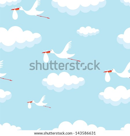 seamless vector wallpaper of cute stork with baby - stock vector