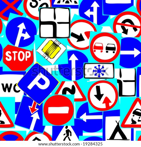 Seamless vector wallpaper with road signs