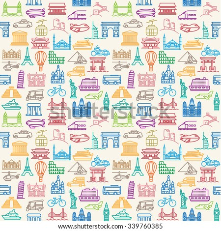 Seamless vector Wallpapers or background travel, vacation, famous places Transportation and Vehicles icons - stock vector
