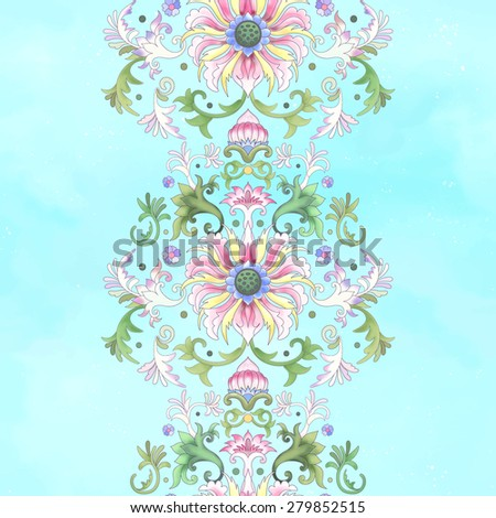 Seamless vector watercolor background with a border. Imitation of chinese porcelain painting. Lotus flowers and leaves are painted by watercolor. - stock vector
