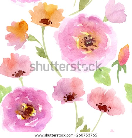 Seamless vector watercolor flower pattern bohemian style  - stock vector