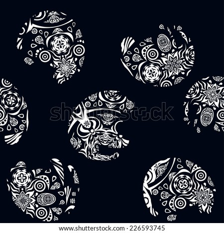seamless vector with pattern of elephants, design elephants, dark and white elephants