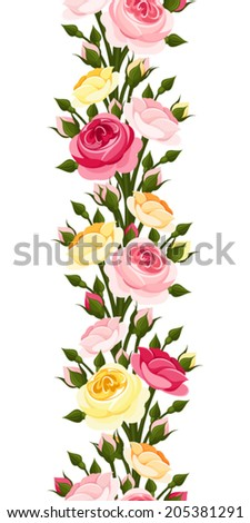 Seamless vertical border with red, pink, orange and yellow roses. Vector illustration. - stock vector