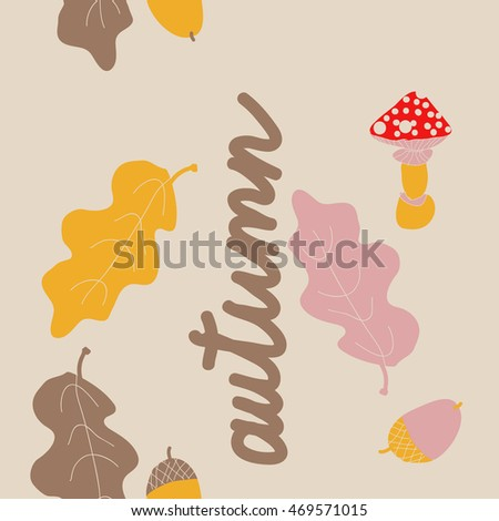 Seamless  vertical  pattern of  autumn theme, doodles,  object,leaves, mushroom, acorns, oak, copy space. Hand drawn.