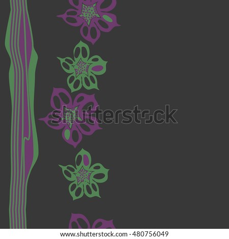 Seamless   vertical   pattern of  stylized  flowers, stripes . Hand drawn.