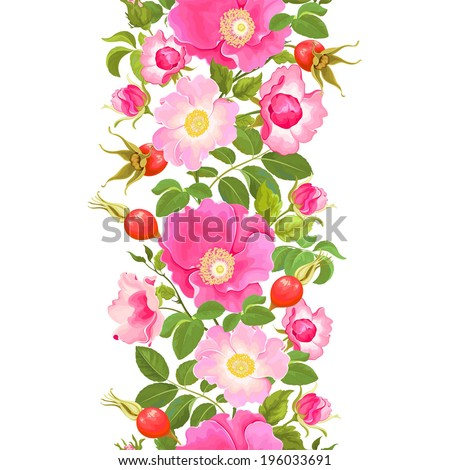 Seamless vertical pattern with flowers and rose hips.