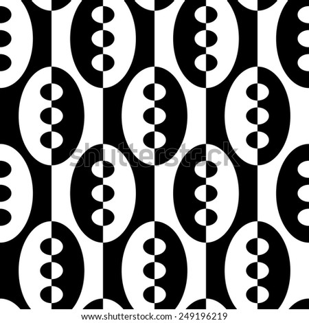 Seamless Vertical Stripe and Ellipse Pattern. Vector Black and White Background - stock vector