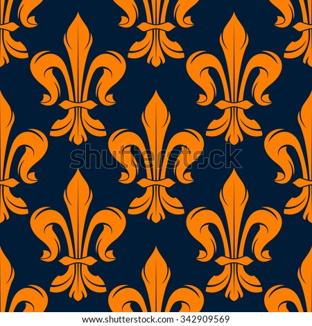Seamless victorian floral pattern with medieval orange fleur de lis flowers on dark blue background - stock vector