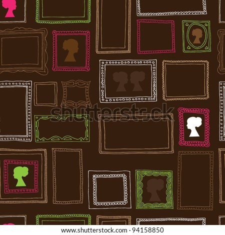 Seamless victorian ornaments photo frames pattern in vector - stock vector
