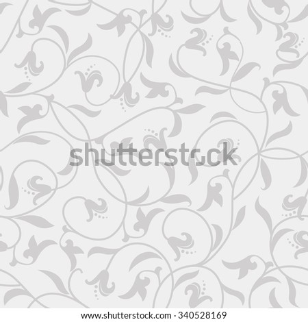 seamless victorian pattern in grey - stock vector