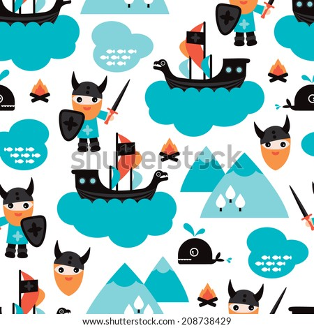 Seamless viking ship and pirate whale fish illustration for kids background pattern in vector - stock vector