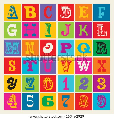 Seamless vintage alphabet in bright retro colors. Good for posters, prints, textiles, scrap-booking, gift wrap, packaging. See my portfolio for JPEG version and for other colors.  - stock vector