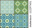 Seamless Vintage Background Collection - Victorian Colorful Tile in vector - stock photo