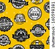 Seamless vintage background pattern of corporate identity style template labels of beer - stock vector