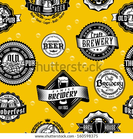 Seamless vintage background pattern of corporate identity style template labels of beer