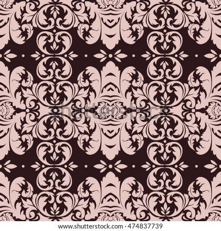 Seamless vintage background. Wallpaper, background, baroque pattern