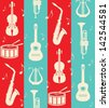 seamless vintage background with music instruments - stock
