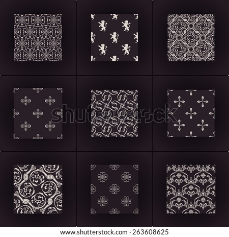 Seamless vintage backgrounds. Vector wallpapers set. Calligraphic ornament pattern - stock vector