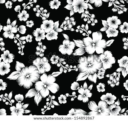 Seamless Vintage Black White Flower Stock Vector 154892867 ...