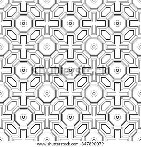 Seamless vintage ethnic pattern in the Greek style. Black and white square wave forms. - stock vector