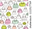 Seamless vintage fashion bag clutch and carry on background pattern in vector - stock vector