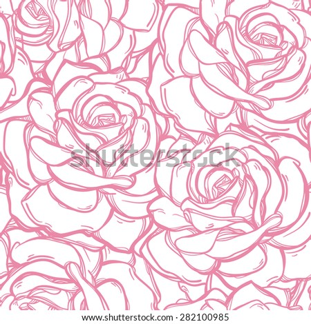 Seamless vintage floral pattern background with flowers of rose or peony. Isolated vector illustration. Design for fabrics, textiles, paper, wallpaper, web. Retro hand drawn ornament. Victorian style. - stock vector