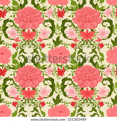 Seamless vintage floral pattern; retro background - stock vector