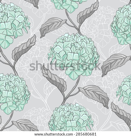 Seamless vintage floral pattern with beautiful hydrangea flowers - stock vector