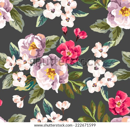 seamless vintage floral vector pattern - stock vector