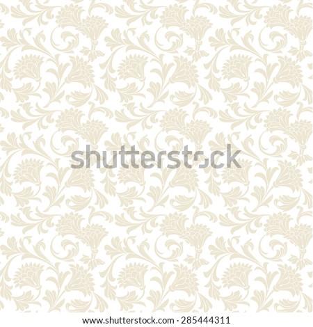 Seamless vintage floral wallpaper pattern. Vector image. - stock vector