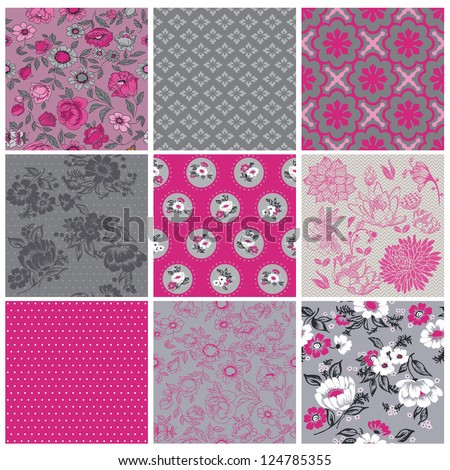 Seamless Vintage Flower Background Set- for design and scrapbook - in vector - stock vector