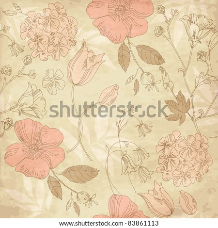 seamless vintage flower pattern, floral vector - stock vector