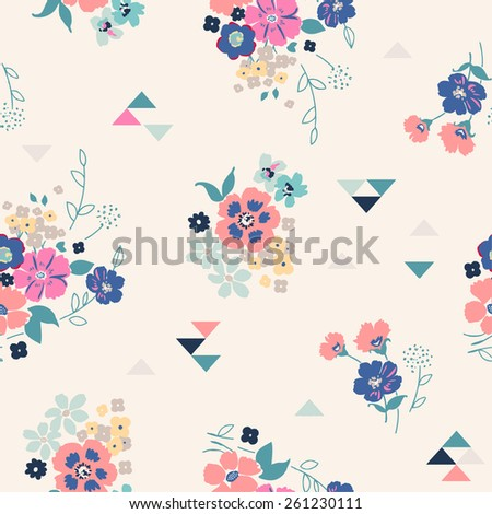 seamless vintage flower pattern vector - stock vector