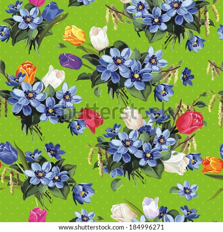 Seamless vintage flower pattern, vector illustration - stock vector