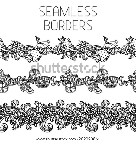 Seamless vintage fruits borders. Horizontal black borders for your design. Grape, raspberry, cherry, lemon/orange and strawberry. - stock vector