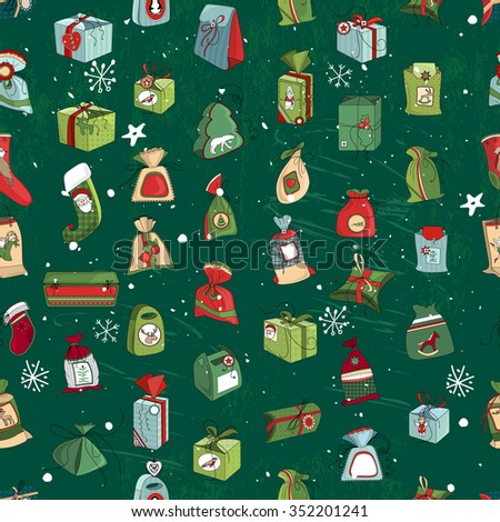 Seamless vintage green pattern with traditional Christmas gift boxes and presents. Endless texture for your design, announcements, greeting cards, postcards, posters. - stock vector