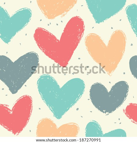 Seamless vintage heart background in pretty colors. Great for Baby, Valentine's Day, Mother's Day, wedding, scrapbook, surface textures. - stock vector