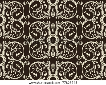 Seamless vintage heraldic wallpaper black background vector - stock vector