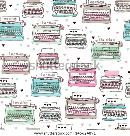 Seamless vintage illustration typewriter background pattern in vector - stock vector
