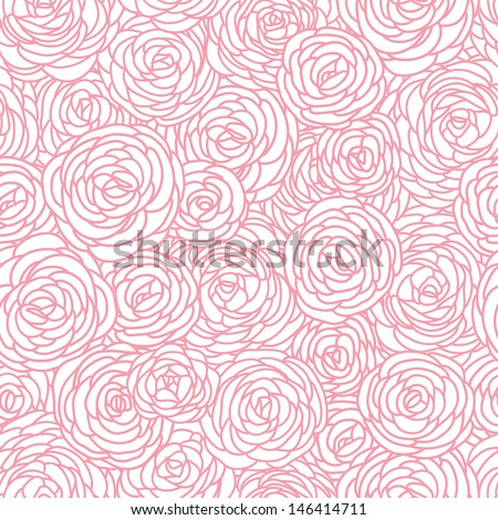 Seamless vintage inspired Rose Pattern, vector background - stock vector