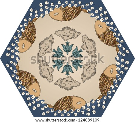 seamless vintage kaleidoscope sea pattern with fish, clouds and birds - stock vector