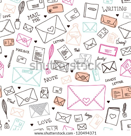 Seamless vintage mail letters and envelope illustration background pattern in vector - stock vector