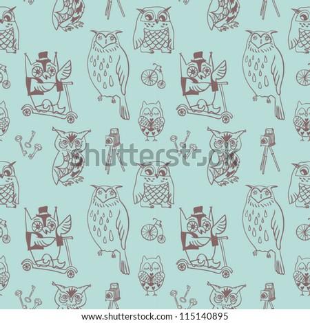 Seamless vintage owl pattern - stock vector