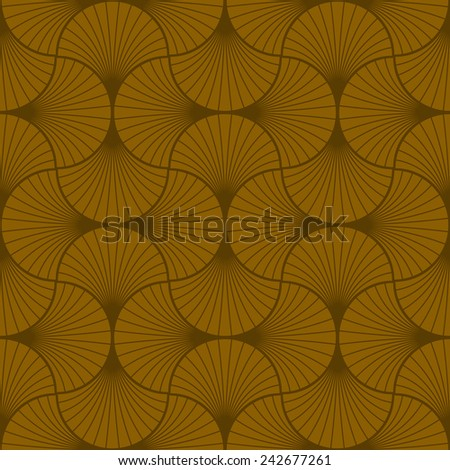 seamless vintage pattern of brown overlapping arcs in art deco style. - stock vector