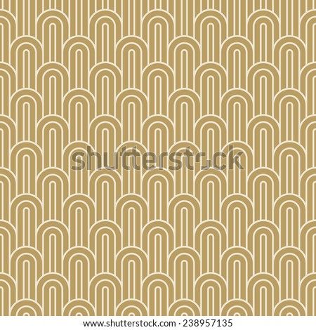 seamless vintage pattern of gold overlapping arcs in art deco style. - stock vector