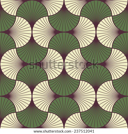 seamless vintage pattern of overlapping leaves in art deco style. - stock vector