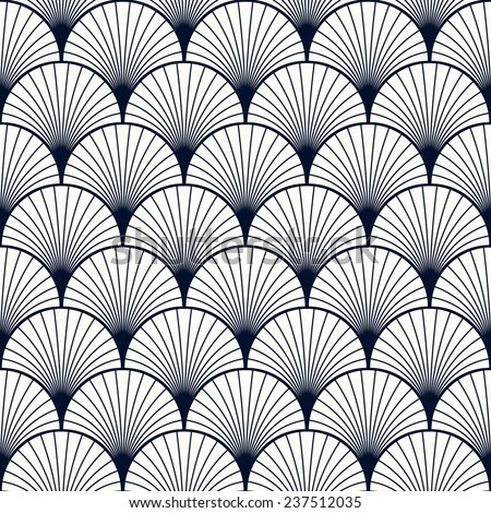 seamless vintage pattern of overlapping shells in art deco style. - stock vector