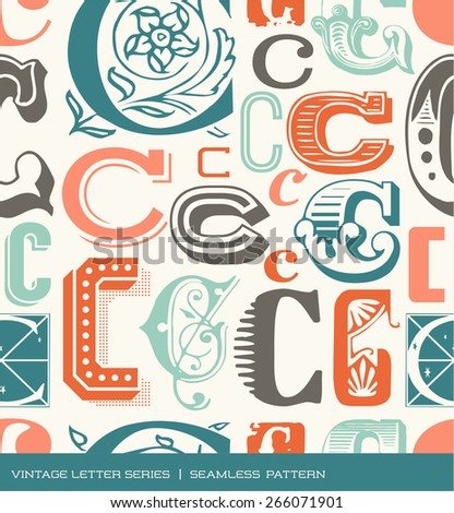 Seamless vintage pattern of the letter C in retro colors - stock vector