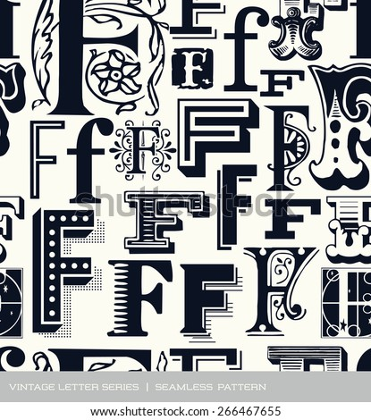 Seamless vintage pattern of the letter F - stock vector