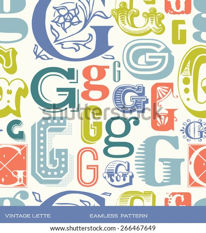 Seamless vintage pattern of the letter G in retro colors - stock vector
